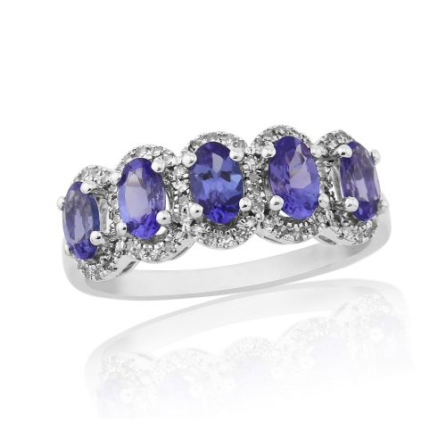 White Gold Tanzanite And Diamond Eternity Or Dress Ring